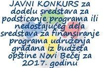 Javni konkurs II za dodelu sredstava udruženja građana za 2017.godinu