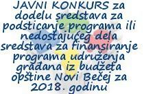 JAVNI KONKURS za dodelu sredstava za podsticanje programa ili nedostajućeg dela sredstava za finansiranje programa udruženja građana iz budžeta opštine Novi Bečej za 2018. godinu